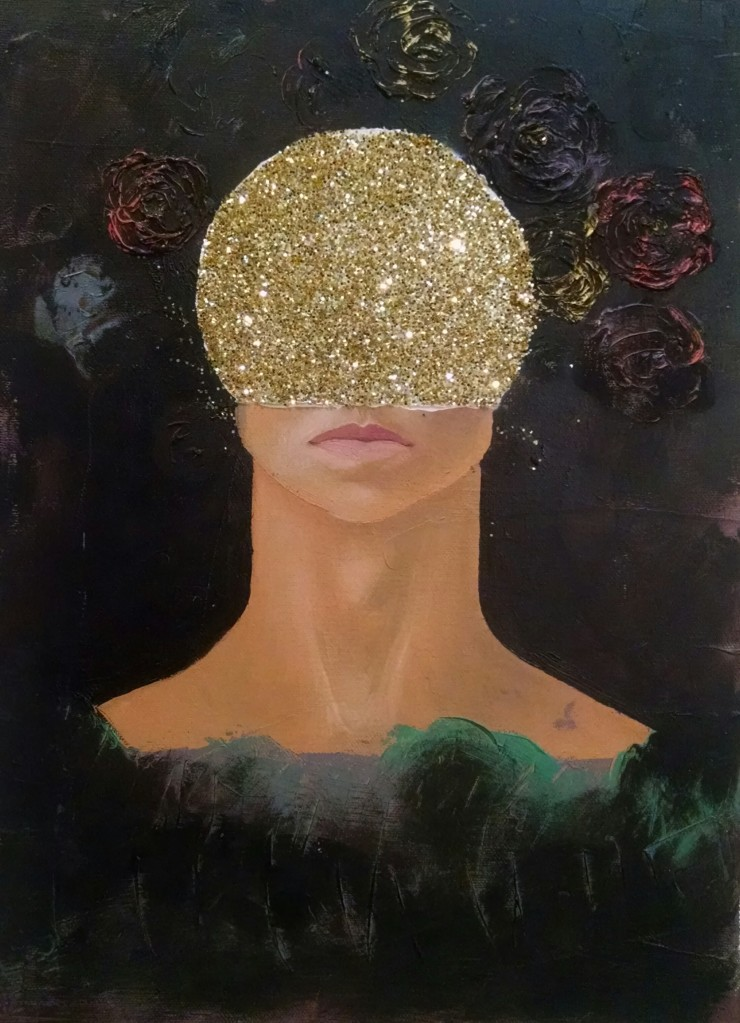 """Glitterhead,"" Oil on canvas with glitter. 2014."