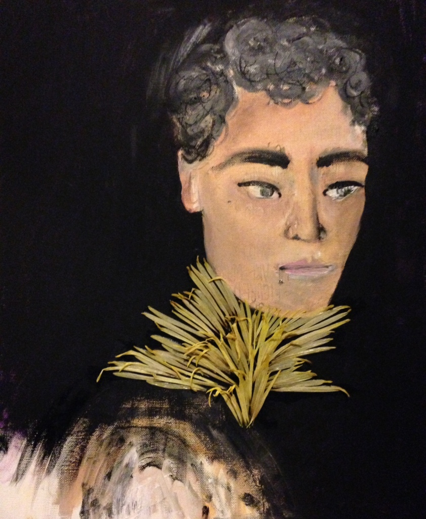 Oil on canvas with chrysanthemums and Modge Podge. November, 2014.