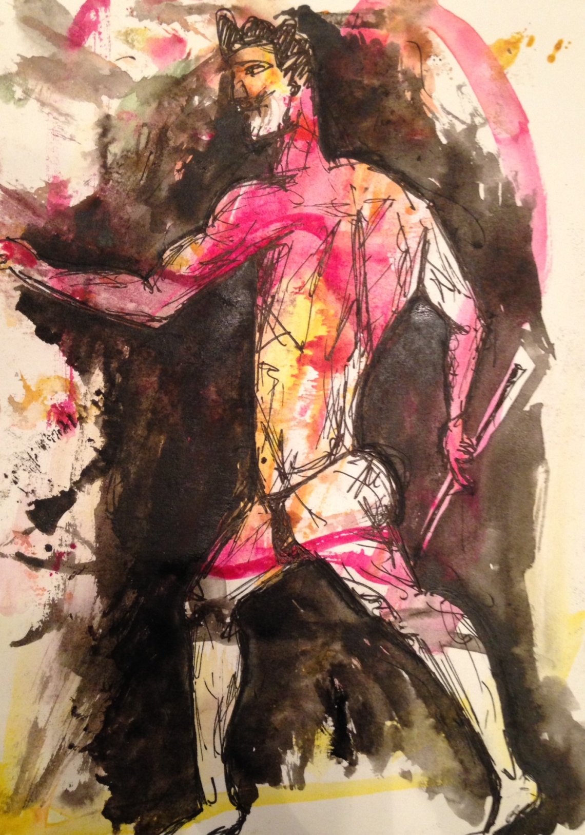 """""""Aktaion."""" Watercolor on paper. November 2014."""